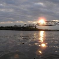 Sunrise, Bridge, Barge, Mississippi River, Мосс-Блуфф