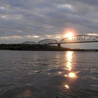 Sunrise, Bridge, Barge, Mississippi River, Скотландвилл