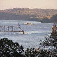 RR Swing Bridge Open for Passing Barge, Скотландвилл