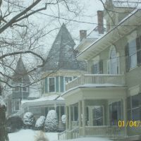 High Street Victorians in snow, Greenfield, MA, Гринфилд