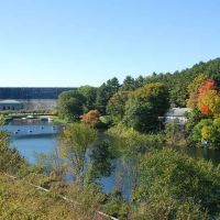 Wachusett Dam and foundations of former railway bridge, Clinton, Ma, Клинтон