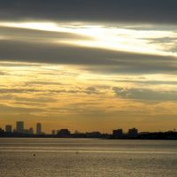 Boston at sunset from Nahant, Линн