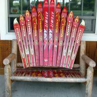ski collection on a bench.., Стерлинг