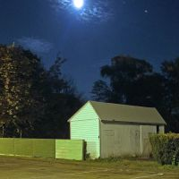 Moon  and planet Jupiter rising over shed on evening of September 23, 2010., Фрамингам