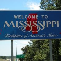 """""""Welcome to Mississippi"""" Sign, Entering Mississippi on Interstate 20/59, Southwestbound, Хармони"""