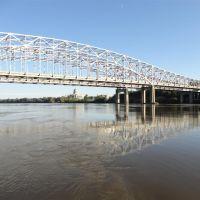 US 54 US 63 bridges over the Missouri River from the boat dock, Jefferson City, MO, Бонн Терр