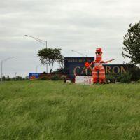 Slow Down Man, road construction art, Cameron, MO, Олбани (Генри Кантри)