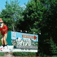 Wack sign for Big Powderhorn Mountain along US 2 in the Upper Peninsula of Michigan near Bessemer MI USA, Бессемер