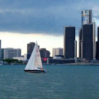 Detroit Michigan viewed from Windsor, Ontario, Canada, Детройт