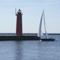 Muskegon MI South Pier Lighthouse Lake Michigan MI, Нортон Шорес