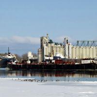 Barge on the icy River / Eine Schute auf dem vereisten Fluss, Порт-Гурон