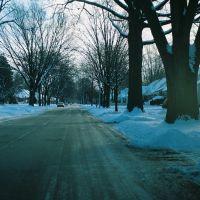 Winter scene on Lancaster Street Harper Woods Michigan USA, Харпер-Вудс