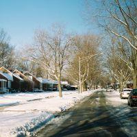 Snowy street in Detroit suburb of Harper Woods Michigan USA, Харпер-Вудс