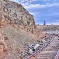 Old Rail Tracks, Bell-Diamond Headframe in Distance, Бьютт