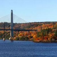 Penobscot Narrows Bridges and Fort Knox from Bucksport, Maine, Бакспорт