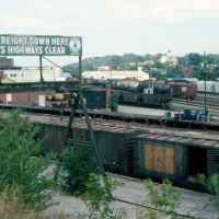 Maine Central Railroad Sign and Freight Yard at Bangor, ME, Хампден