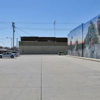 Parking lot with cyclists mural, West Norfolk Ave, Norfolk, Nebraska, Норфолк