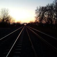 "Union Pacific Main line; ""Lane Cutoff"" looking West @ sunset, Папиллион"