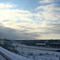 I-80 viewed from UNION PACIFIC Passenger Train in Omaha, Папиллион