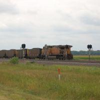 Union Pacific Railroad Pusher Locomotive No. 6572 on an Westbound Unit Coal Train near North Platte, NE, Скоттсблуфф