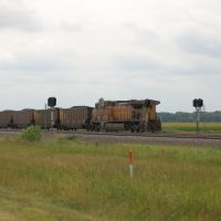 Union Pacific Railroad Pusher Locomotive No. 6572 on an Westbound Unit Coal Train near North Platte, NE, Спрагуэ