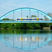 RiverLINE Light Rail Bridge over the Rancocas Creek, Delanco-Riverside, New Jersey, Деланко