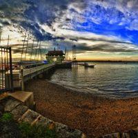 Riverton Yacht Club at sunset, Panorama stitch of multiple HDR images., Ривертон