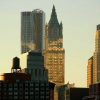 Beekman and  Woolworth Building from Hudson River;  New York, Хобокен