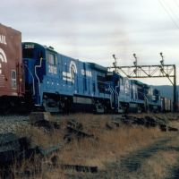 "Southbound Conrail Freight Train ""SELI"" with three GE B23-7s providing power at Beacon, NY, Бикон"