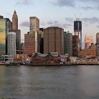 New York, USA, Manhattan before sunrise, panorama, Бруклин