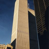 USA, vue de près les Tours Jumelles (World trade Center) à Manhattan en 2000, avant leurs chute, Вест-Бэбилон