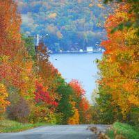 Autumn Finger Lake New York street, Виллард