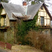 "John Burroughs house, ""Riverby,"" 1873; Tudor Cottage in half-timber, ДеВитт"