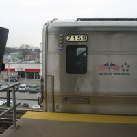 LIRR M7 7159 leaves Merrick for Penn Station, Меррик