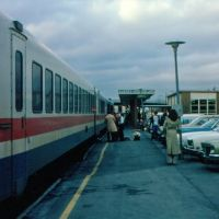 "Amtrak Train No. 68, the ""Adirondack"", with Rohr Turboliner equipment, boarding passengers at Rensselaer, NY, Олбани"