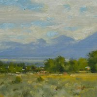 """View from Llano, Taos, NM, oil - 11x14"""", Ранчос-Де-Таос"""