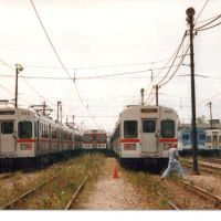 "three generations of Cleveland Red Line Rapid Transit cars (l to r) Tokyu, Pullman ""Airporter"", Tokyu, St. Louis ""Blue Bird"", Pullman ""Airporter"", Брук-Парк"