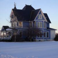 New Bremen, Ohio, Blue, House, Snow,, Нью-Бремен