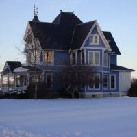 New Bremen, Ohio, Blue, House, Snow,, Форт-Лорами