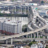 Marquam Bridge / Willamette River - view from Portland Aerial Tram, Portland, OR, USA., Портланд