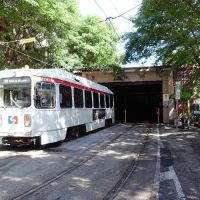 SEPTA trolley (Route 10) going up to the ground surface, Белмонт