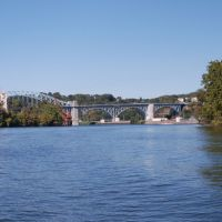 MMcKees Rocks Bridge from the back channel of the Ohio River behind Brunots Island., Мак-Кис-Рокс