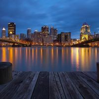 Pittsburgh Downtown Skyline Reflection, Pennsylvania, Питтсбург