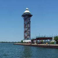 Erie Warf and Bicentennial Tower On Presque Isle Bay, Erie, Erie County, Pennsylvania., Эри