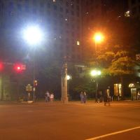 Trade Street At Tryon Street, Uptown Charlotte At Night, 11-8-2008, Шарлотт