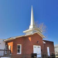 NORTH CAROLINA: ELIZABETH CITY: Corinth Church of Christ, 205 Walnut Street entrance aspect, Элизабет-Сити