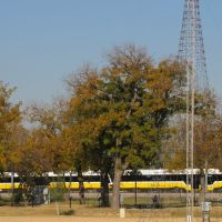 DART train darting thru the fields at Farmers Branch (between Jeff Fuller Rose Garden and Liberty Plaza), Фармерс-Бранч