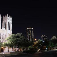 Night skyline and First United Methodist, Форт-Уэрт