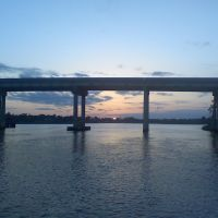 Carrabelle River Bridge at sunset, Каррабелл