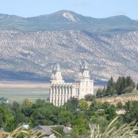 Manti Temple from the hills, Моаб